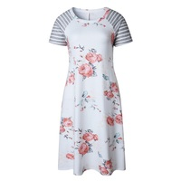 ELSVIOS Summer Floral Printed Loose A-Line Dress Women O Neck Short Sleeve Patchwork Dresses Casual Sundress Female Vestidos 5