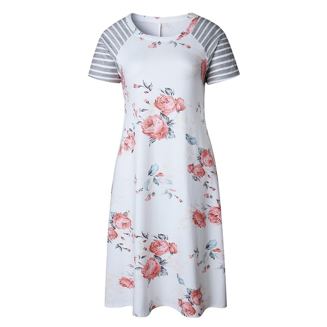 ELSVIOS Summer Floral Printed Loose A-Line Dress Women O Neck Short Sleeve Patchwork Dresses Casual Sundress Female Vestidos 5