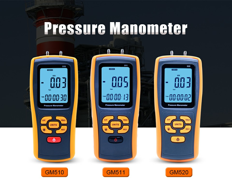 High-precision digital pressure gauge GM510/GM511/GM520 micro-pressure gauge differential pressure meter Air pressure gauge 250 250pa te2000 micro differential pressure gauge high precision 1 8 npt air pressure meter barometer
