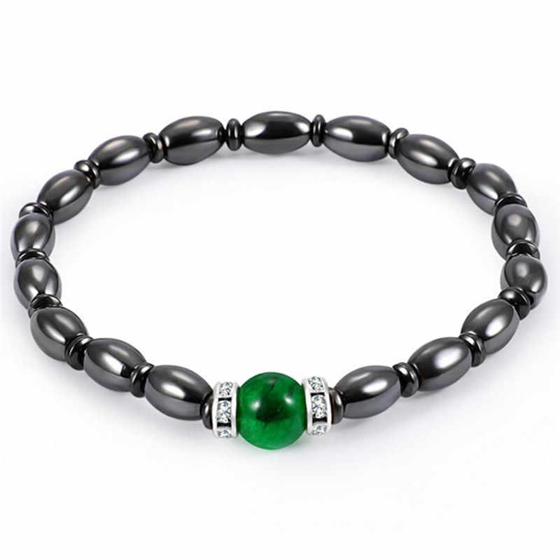 หลายสีคริสตัล healing กำไลข้อมือแม่เหล็ก Magnetic Hematite สร้อยข้อมือสุขภาพสีดำ Magnetite Malachite สำหรับผู้หญิงผู้ชาย