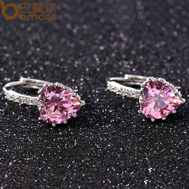 BAMOER 2018 HOT SELL Silver Color 4 Color Stones Heart Shape Trendy & Elegant AAA Zircon Stud Earring for Party n Gift YIE095