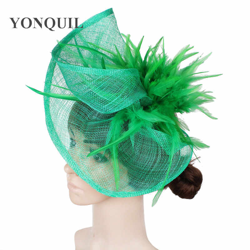 86755519 Women multiple colors high quality fascinators hats with feather hair  accessories sinamay fascinator hat event headwear