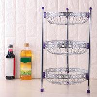 Kitchen Oval Food Storage Rack Placed Vegetables Fruits Storage Basket Multilayer Stainless Steel Shelves Bathroom Toilet Holder