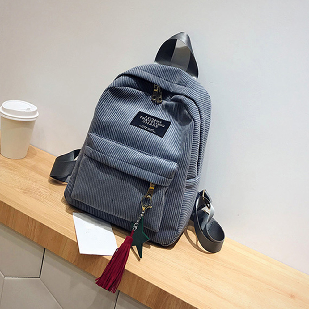 Women's Fashion Canvas Tassel School Bags Travel Backpack Black Bag For Women  Backpack #yl1 #4