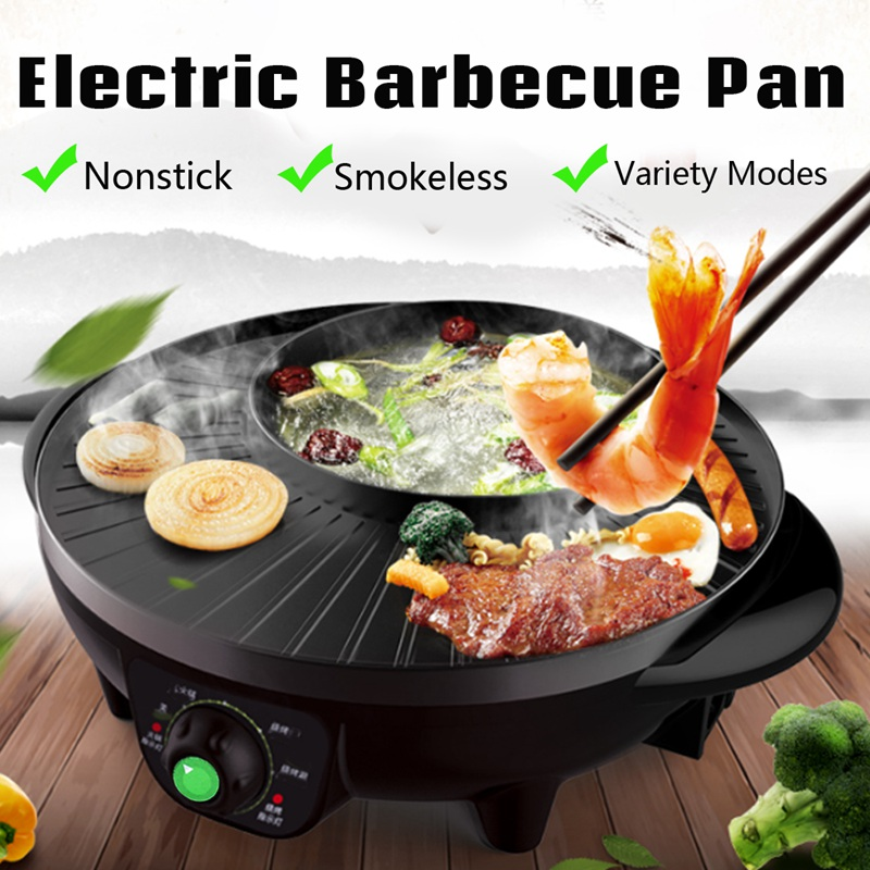 Warmtoo New 2 in 1 220v 1600W Electric Indoor Smokeless Nonstick Barbecue Pan Multifunction Nonstick Roasted Shabu Hot Pot Black edtid multifunctional electric cooker mini heat pan students hot pot without oil fume nonstick frying pan special offer