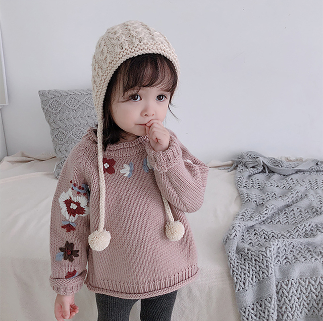 b7b1147bf7fbd8 2019 Spring Handmade Embroidery Floral Baby Girls Sweater O-Neck Newborn Baby  Knitted Cardigan Winter Toddler Infant Pullover