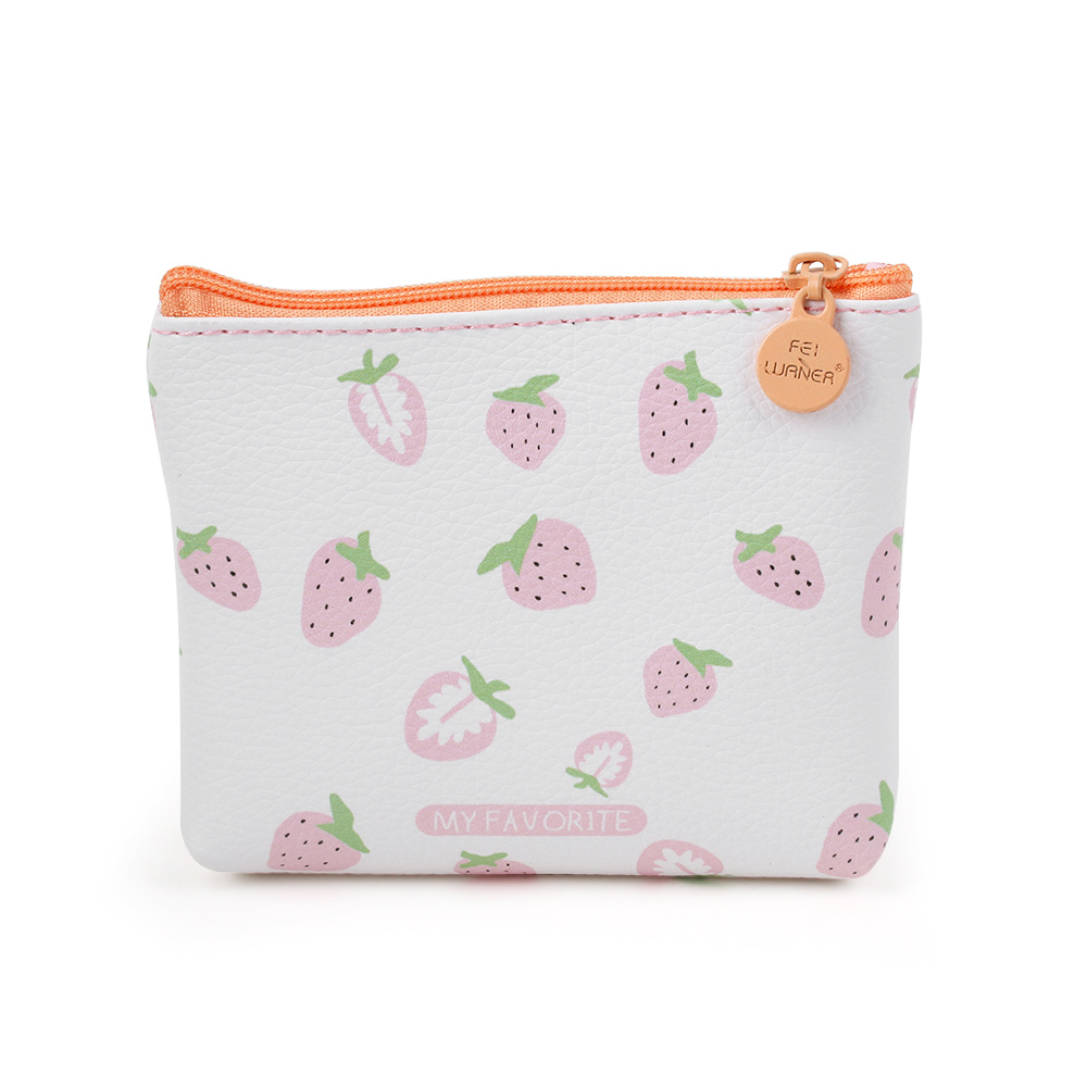 Womens Pink Flamingo With Watermelons And Strawberry Coin Purse Wallet Handbag Clutch