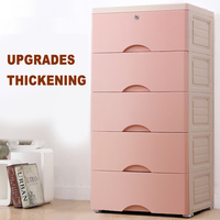 Five layer box drawer plastic multi layer drawer type collection cabinet baby closet toy clothes sorting box Storage Drawers