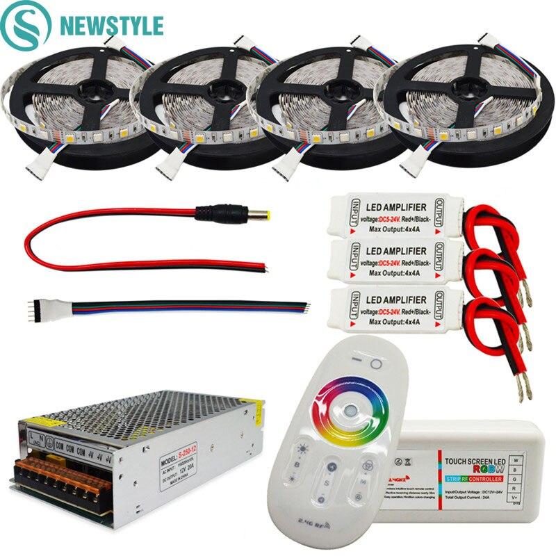 Vente chaude 60led/m DC12V Led Bande 5050 RGB RGBW Étanche LED Bande de lumière + RF À Distance contrôleur Power adapter Kit 5 m 10 m 20 m