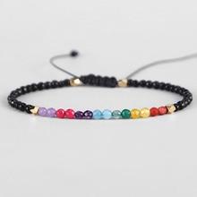 Fashion 12 Constellation Lucky Stone Balance Beads 7 Chakra Bracelet 3mm Reiki Buddha Prayer Bracelets for Women