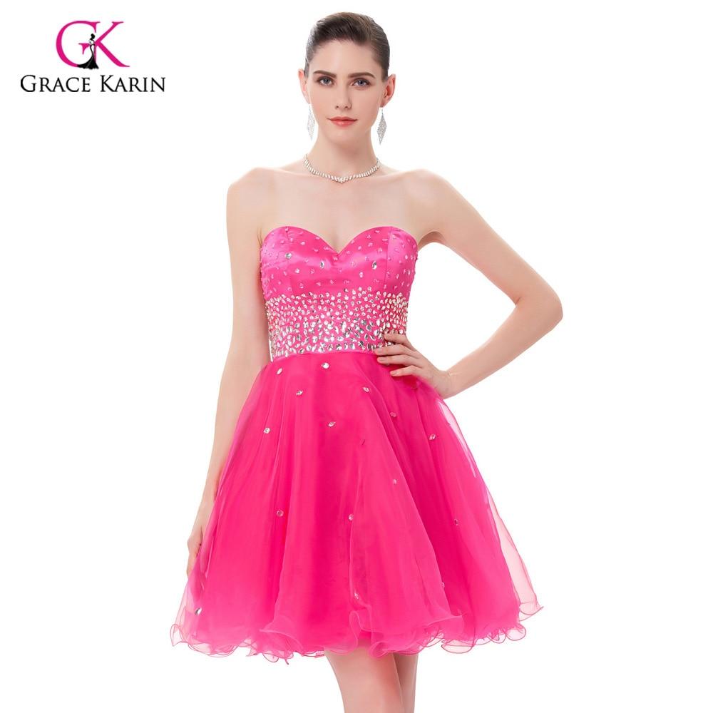 Short Evening Dresses Grace Karin 2018 New Strapless Organza Pink ...