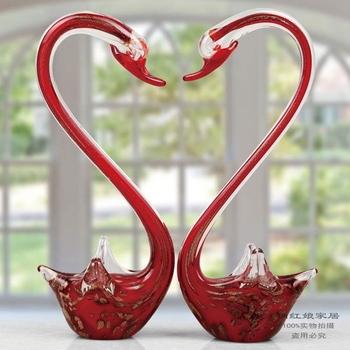 art craft Wedding Animal crystal swan 1 pair colored glaze decoration house Lovers glaze Swan 2pc