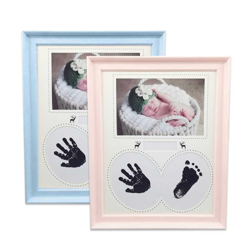 Photo Frame Baby Photo Frame Newborn Wall for Pictures Handprint Footprint Ink Pad Frame Kid Birthday Gift Cadre Room Decor