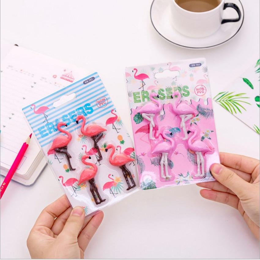 4pcs/set Cute Cartoon Flamingo Shape Eraser Kids Correction Stationery Rubber Pencil Erasers Decor Toys Rub Kits School Rewards