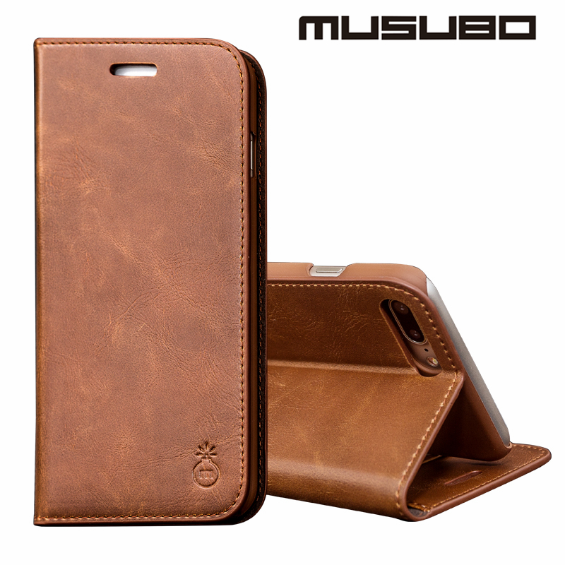 Musubo Brand Luxury Leather Cases Cover for iPhone 7 plus Flip Case For 7 iphone 6 plus 6s Wallet phone Case Holster iphone 5 5s