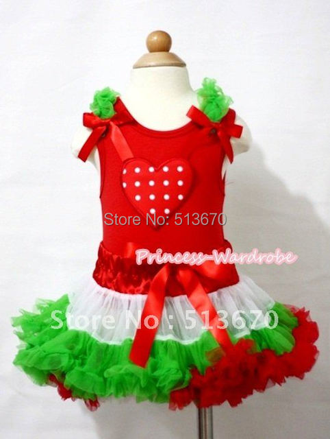 X'Mas Red White Polka Dots Heart Print Red Tanktop,Dark Green Ruffles Hot Red Bows,Hot Red White Dark Green Pettiskirt MAMM351