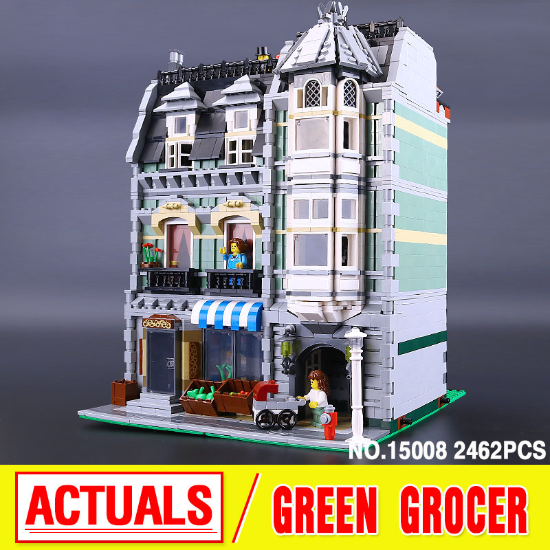 ФОТО LEPIN 15008 2462Pcs Genuine New City Street Green Grocer Model Building Kit Blocks Bricks Toy Gift Compatible Funny Gift 10185