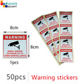 #50pcs#(4pcs * 13 piece) Self-stick security warning sticker English language cctv IP camera surveillance project mate. GANVIS