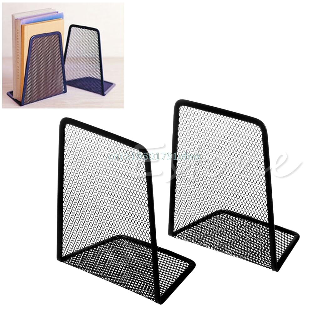 1Pair Metal Mesh Black Desk Organizer Desktop Office Home Book Holder Bookends