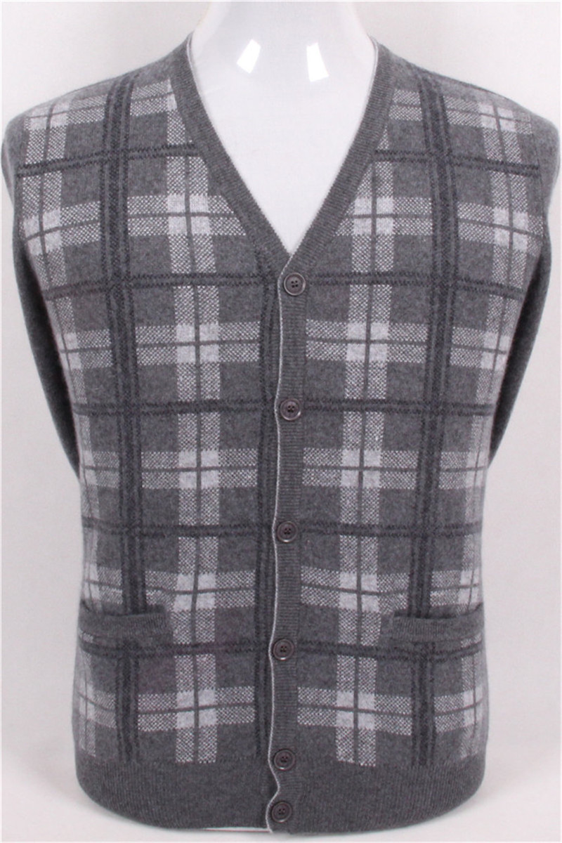 Большие размеры чистый козел кашемир Жаккардовый плед вязать Мужская мода v образным вырезом толстый свитер серый 2 вида цветов S/4XL