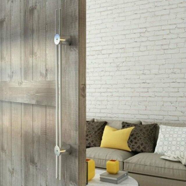 Brushed Stain Stainless Steel Sliding Glass Door Wood Barn Door