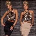 Горячие продажа 2016 Новая Мода Женщин Сексуальный Leopard Принтом Повседневная Bodycon Мини-Платье с Поясом женская платье бесплатная доставка