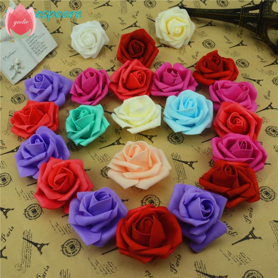 10pcslot Cheap 6cm Red Rose Foam Artificial Flowers Head For
