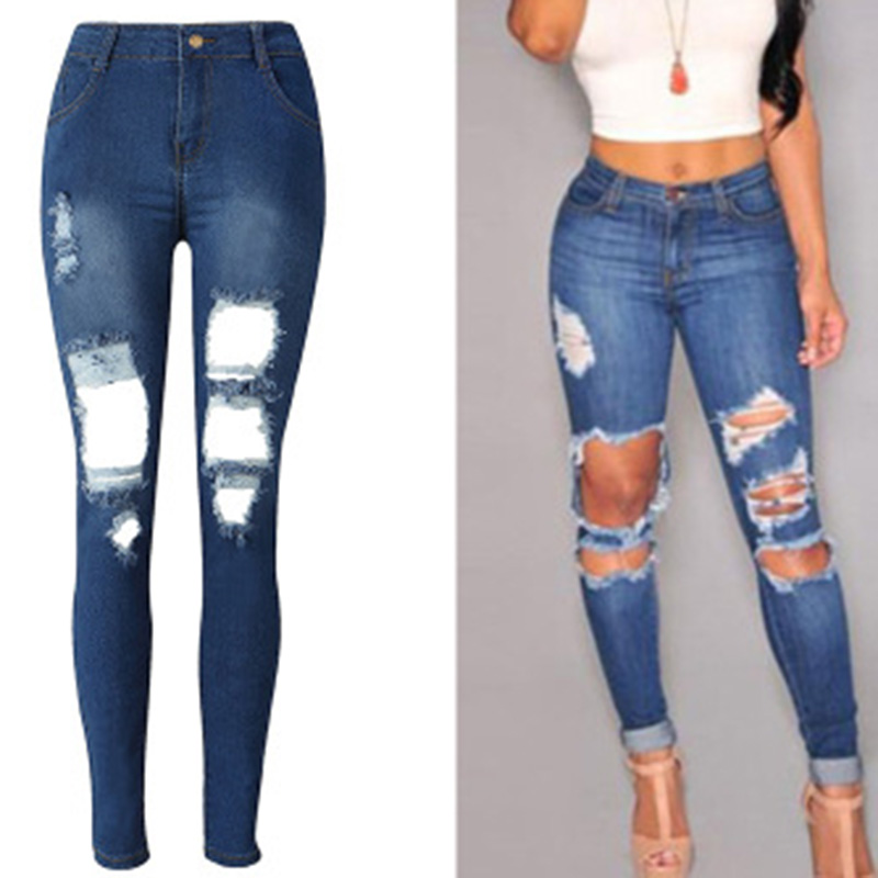 Popular Big Holes Jeans Women Street Denim Pants Trousers High Waist Ripped Washed Slim Stretch Jeans Pants Female Pencil Pants spring denim jeans for women slim high elastic waist skinny pencil pants jeans trousers bleached big size female washed casual