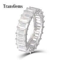 Transgems изумруд Enternity обручальное 18 К Белое золото 3X5 мм FG Цвет изумруд резки синтетический бриллиант обручальное кольцо для женщин