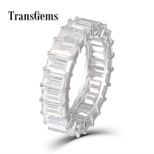Transgems Emerald Enternity Wedding Band 18K White Gold 3X5MM FG Color Cutting Moissanite Diamond Ring for Women