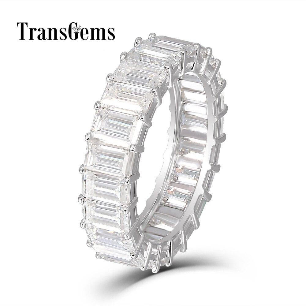 Transgems Esmeralda Enternity banda de boda 18 K oro blanco 3X5 MM FG Color esmeralda corte anillo de boda de diamante anillo para las mujeres