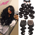 Brazilian Virgin Hair With Closure 7A Brazilian Body Wave 3 Bundles With Closure Brazilian Human Hair Bundles With Lace Closure