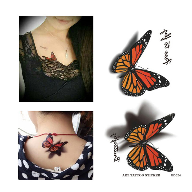 017734607 Arm Shoulder Leg Wrist Hand Black Waterproof letter Tattoos 3D Brown Butterfly  Designs Pattern Tattoo For Women/men