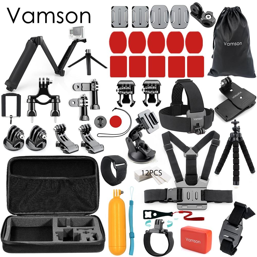 цена Vamson Accessories Kit for Go Pro kit Selfie Stick Collection Box for Xiaomi 4k for Mijia for Gopro Hero 6 5 4 3+Tripods VS53