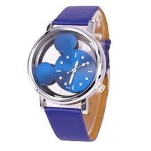 купить Relogio Feminino Cute cartoon quartz Wrist Watch Fashion Mickey Women  Watches Transparent hollow Leather Ladies dress watches дешево