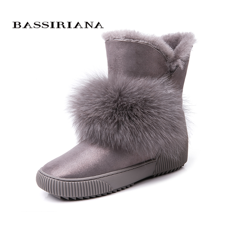 BASSIRIANA New 2018 genuine sheepskin suede warm winter ankle snow boots shoes women increase insole fur round toe 35-40 size women winter flats genuine leather round toe match colored buckle rhinestone fur fashion ankle snow boots size 35 39 sxq0826