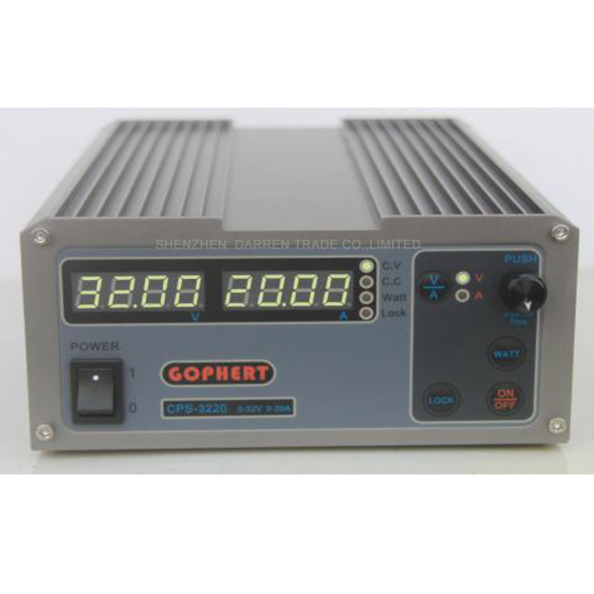 1 PC CPS-3220 Precision Compact Digital Adjustable DC Power Supply OVP/OCP/OTP Low Power 32V20A 220V 0.01V/0.01A cps 6003 60v 3a dc high precision compact digital adjustable switching power supply ovp ocp otp low power 110v 220v
