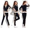 MOKnife 2017 Spring and autumn velvet leopard print velvet womens tracksuit moleton feminino women two piece outfits pants