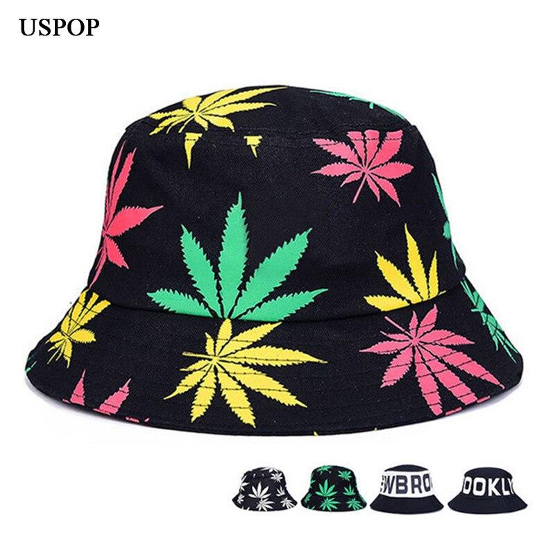 USPOP 2018 Hot Woman Cotton Bucket Hats women summer hats Flat top Wide brim Maple leaves Print Sun Hats casual outdoor hats