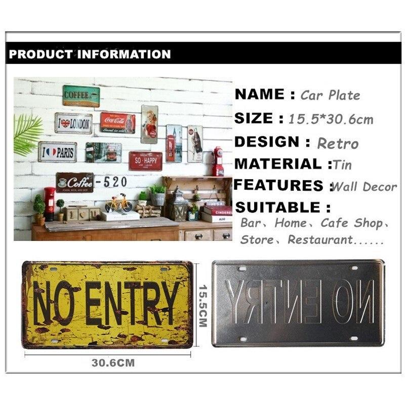 NO SMOKING CAR PLATE Vintage Tin Sign Bar pub Cafe Store home Wall Decor