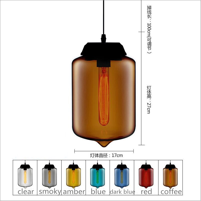 Factory Cheap amber/smoky gray/red/coffee/blue Glass Pendant Lamp Pendant Light Edison bulb bedroom dining room cafe kitchen bar loft vintage edison glass light ceiling lamp cafe dining bar club aisle t300
