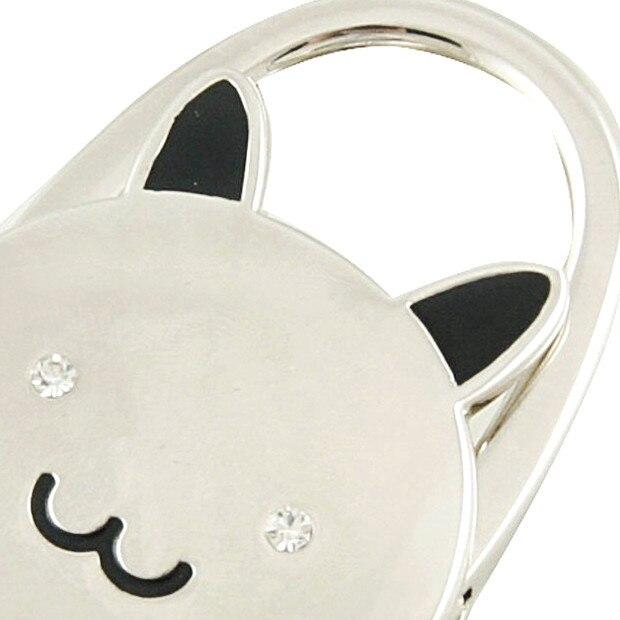 Gato dibujos animados plegable tono plateado bolso gancho antideslizante Base de goma bolsa titular mejor venta