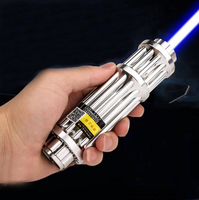 Most Powerful Burning Lazer Torch Cannon 450nm 500000m Flashlight Blue Laser Pointer Burn Dry Wood Light Cigars Hunting