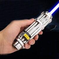 Most Powerful Burning Lazer Torch Cannon 450nm 500000m Flashlight Blue Laser Pointer Burn Dry Wood Light Cigars Hunting