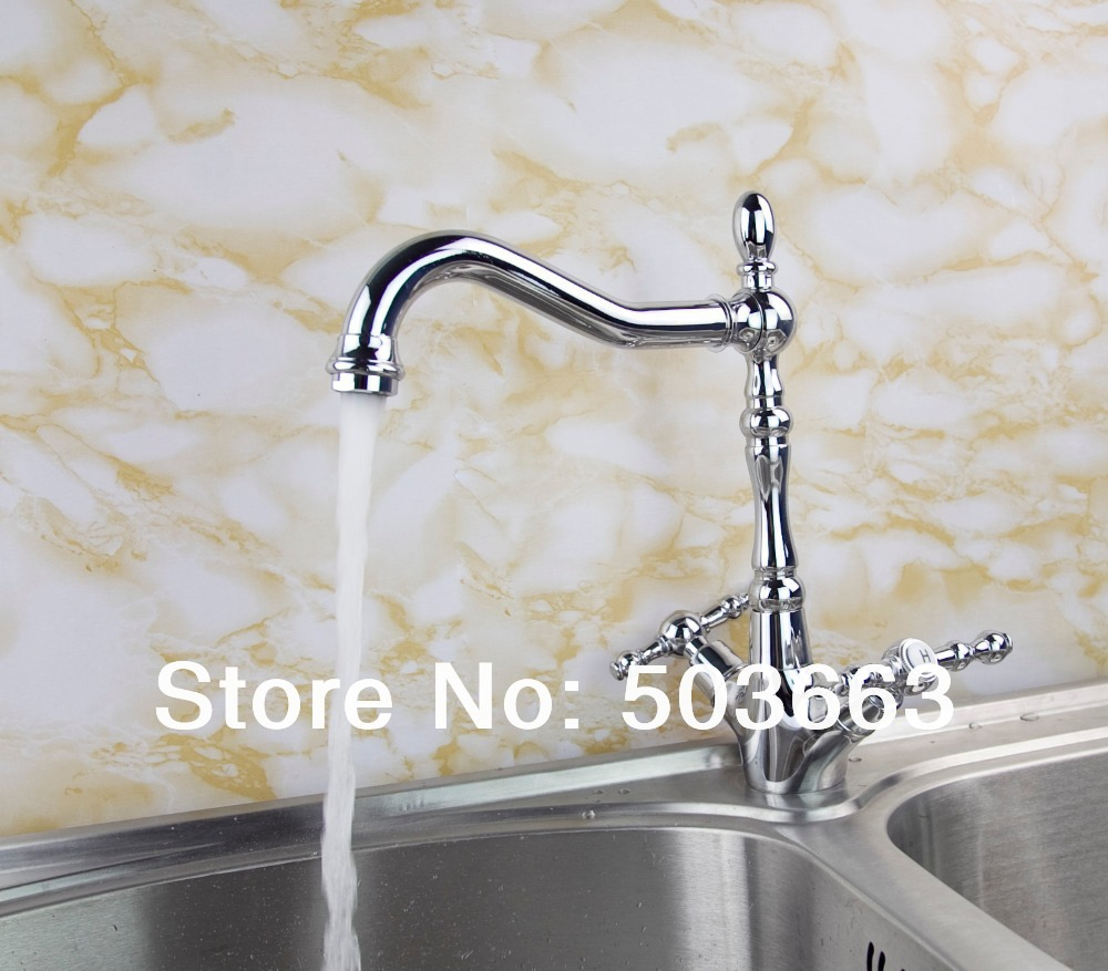 Unique Swivel Chrome Brass Kitchen Faucet Spout Vessel Basin Sink Double Handles Deck Mounted Mixer Tap MF-453 Mixer Tap Faucet antique brass swivel spout dual cross handles kitchen