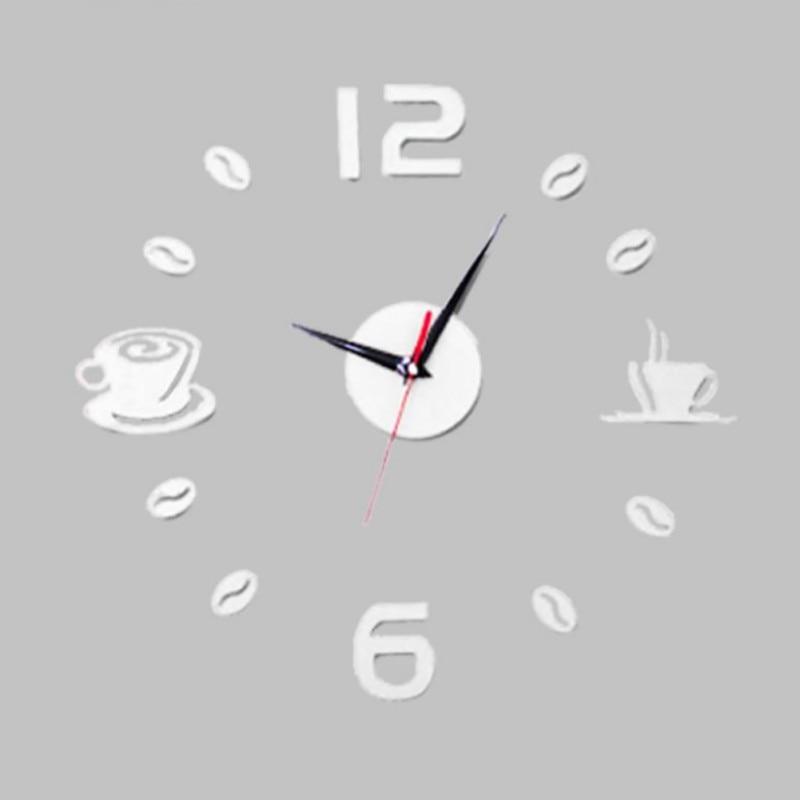 New 3D Coffee Cups Living Room Art Diy Wall Clocks Mirror Clock Modern Design Watches Home Decoration DIY Decor Sticker Kitchen