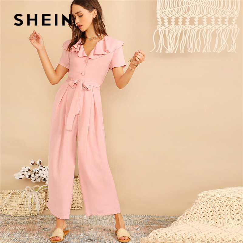 SHEIN Pink Casual Ruffle Trim Half Placket Belted Wide Leg Jumpsuit Women Summer Vacation V Neck Short Sleeve Solid Jumpsuit