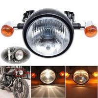 Mayitr New Motorcycle Retro Front Headlight Turn Signal Light Head Light Brackets Mount For Motorbikes Cafe