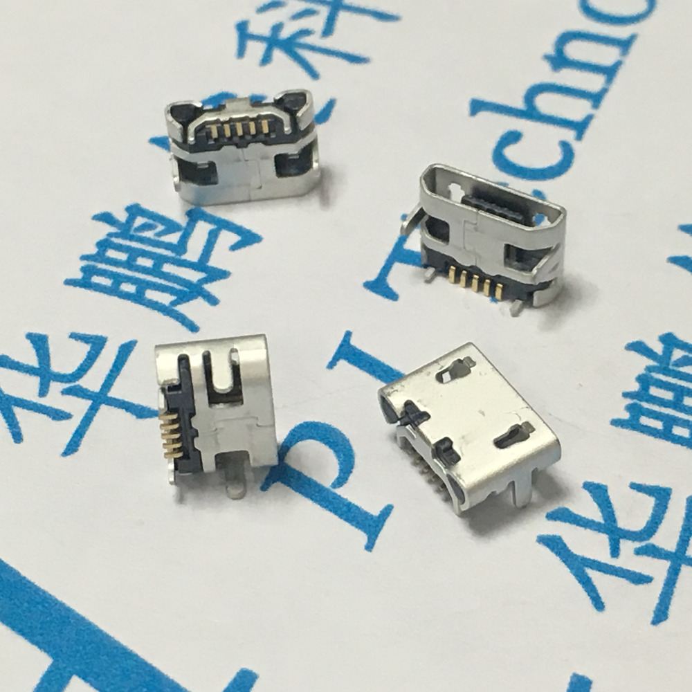 10Pcs Micro USB 5pin B type Female Connector For Mobile Phone Micro USB Jack Connector 5 pin Charging Socket 4-pin DIP wholesale 20 pcs micro usb type b female 5 pin smt placement smd dip socket connector plug adapter