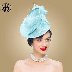 FS Sinamay Blu del Cappello di Fascinator Per La Cerimonia Nuziale Delle Donne Eleganti Delle Signore Del Fiore Derby Cappelli Chiesa Vestito Fortino Cappello Fedora Vintage Partito